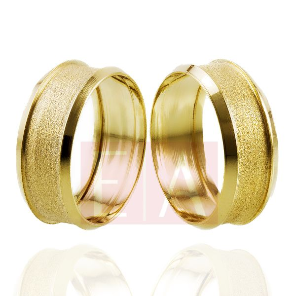 Alianças Ouro 18k Casamento Noivado Côncova Anatômica 8mm 7 Gramas Oca