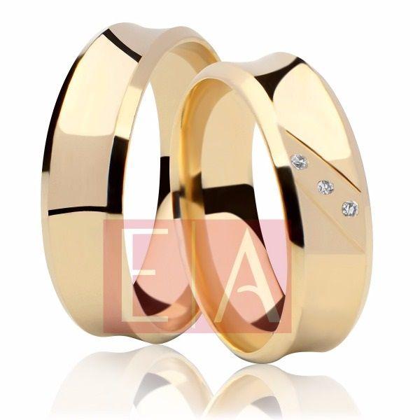 Alianças Ouro 18k Casamento Noivado Côncova Anatômica Pedra Zircônia 7mm 10 Gramas