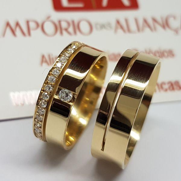 Alianças Ouro 18k Casamento Noivado Cravejada Pedra Zircônia Exclusiva 6mm 12 Gramas Anatômica