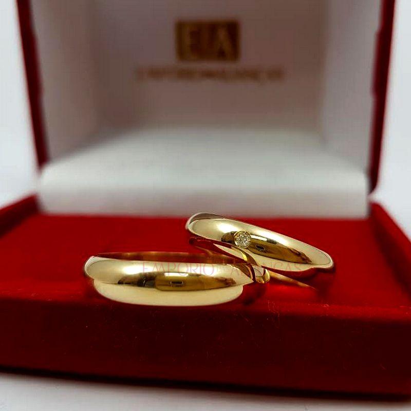 Alianças Ouro 18k Casamento Noivado Lisa Abaulada Redonda Pedra Brilhante 5mm 11 Gramas O Par