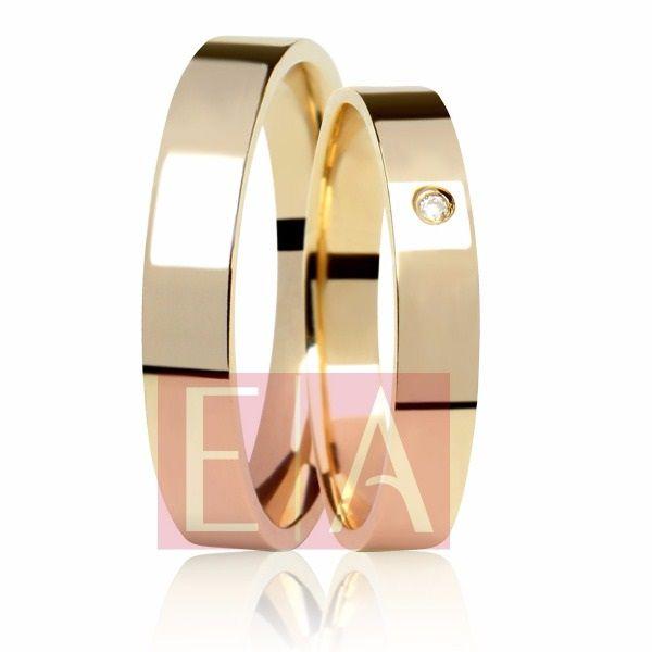 Alianças Ouro 18k Casamento Noivado Quadrada Anatômica Pedra Zircônia 4mm 5 Gramas