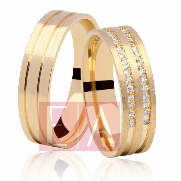Alianças Ouro 18k Casamento Noivado Quadrada Anatômica Pedra Zircônia 5mm 10 Gramas