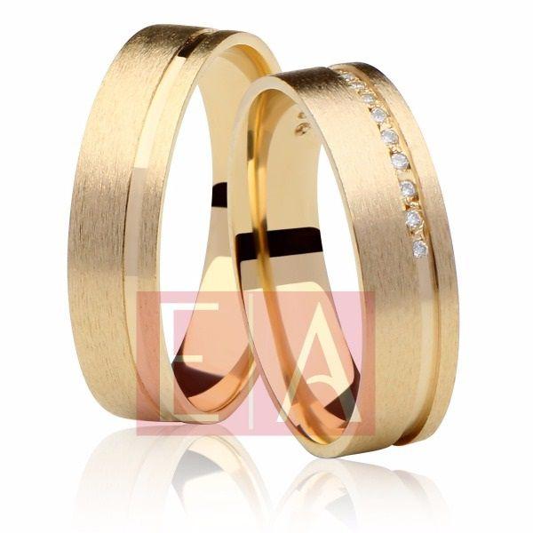 Alianças Ouro 18k Casamento Noivado Quadrada Anatômica Pedra Zircônia 5mm 9 Gramas