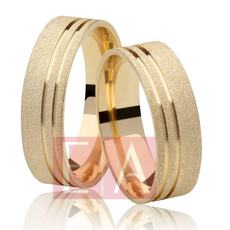 Alianças Ouro 18k Casamento Noivado Quadrada Fosca Anatômica 6mm 9 Gramas