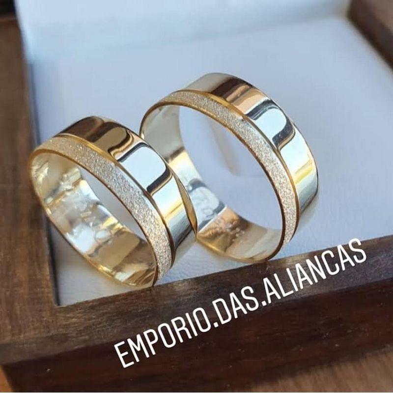 Alianças Ouro 18k Casamento Noivado Quadrada Fosca Reta Friso 7mm 10 Gramas o Par