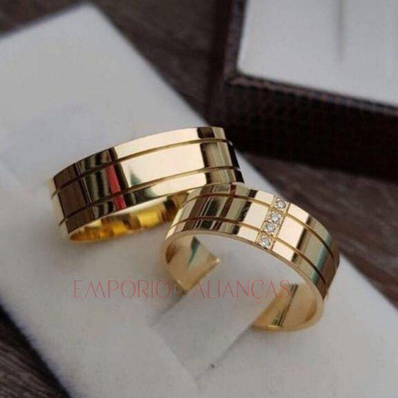 Alianças Ouro 18k Casamento Noivado Quadrada Pedra Zircônia Anatômica Friso 8mm 14 Gramas