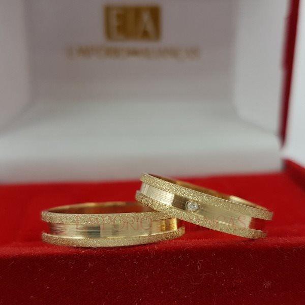 Alianças Ouro 18k Casamento Noivado Quadrada Reta Pedra Zircônia Fosca 5mm 5 Gramas