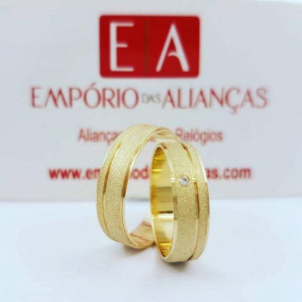 Alianças Ouro 18k Casamento Noivado Quadrada Reta Pedra Zircônia Fosca 6mm 7 Gramas