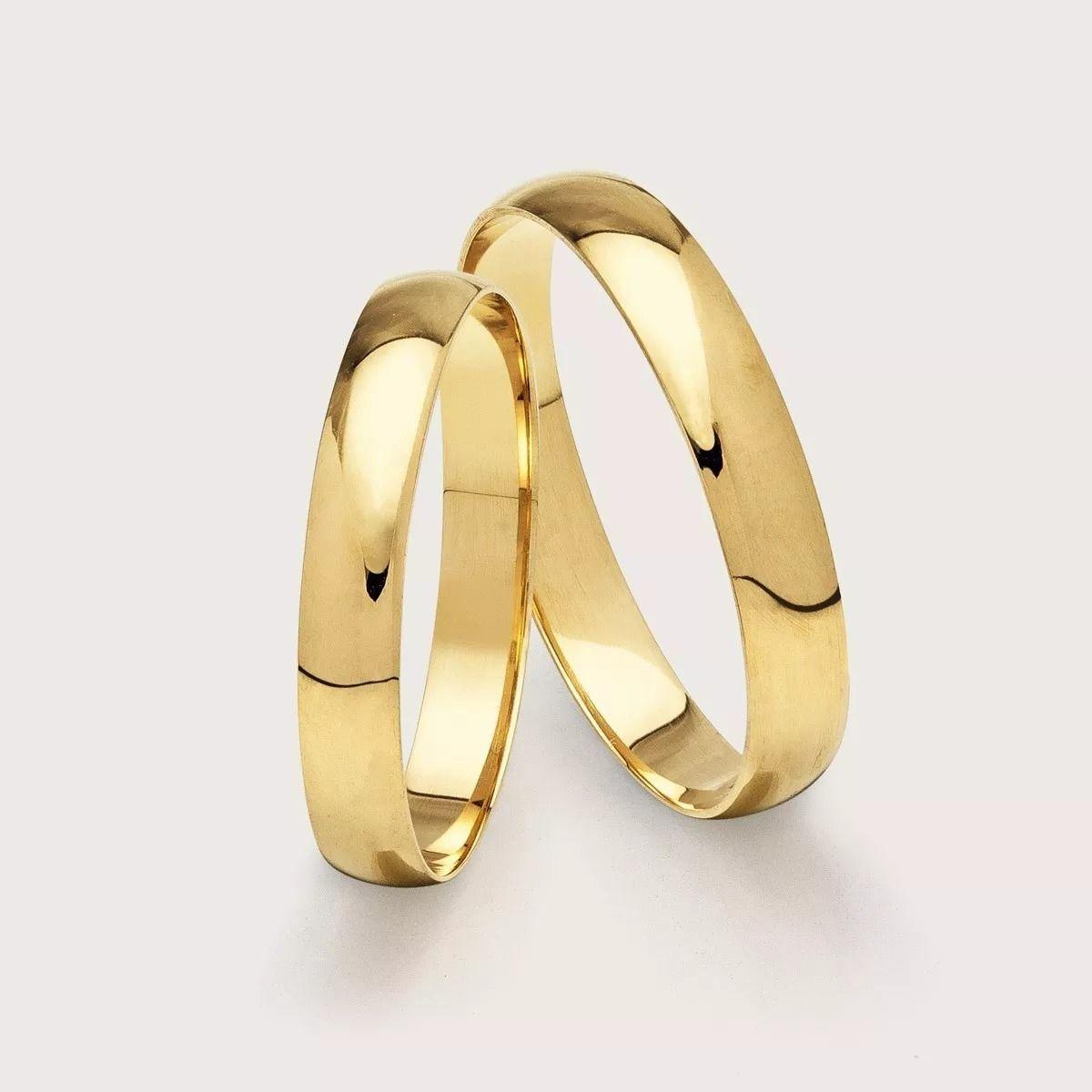 Alianças Ouro 18k Casamento Noivado Tradicional Abaulada Lisa 4mm 3,20 Gramas