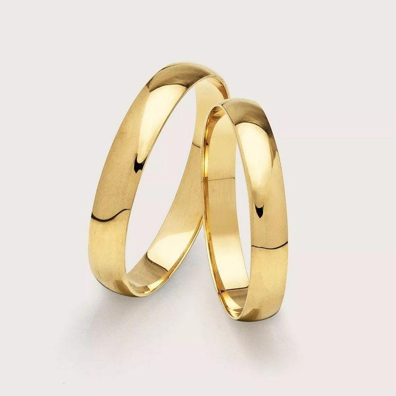 Alianças Ouro 18k Casamento Noivado Tradicional Abaulada Lisa Anatômica 4mm 4,03 Gramas o Par