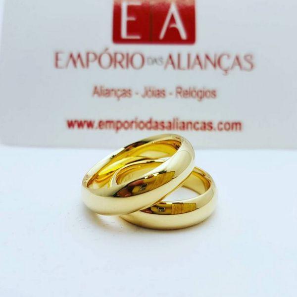 Alianças Ouro 18k Casamento Noivado Tradicional Abaulada Lisa Anatômica Oca 5mm 8 Gramas