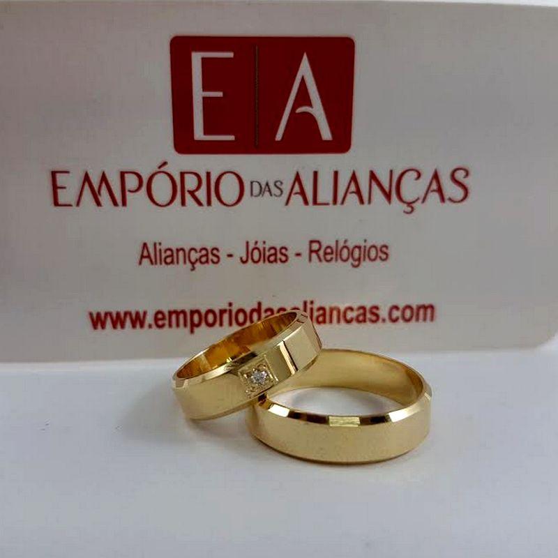 Alianças Ouro 18k Casamento Noivado Tradicional Chanfrada Quadrada Lisa 5mm 4 Gramas
