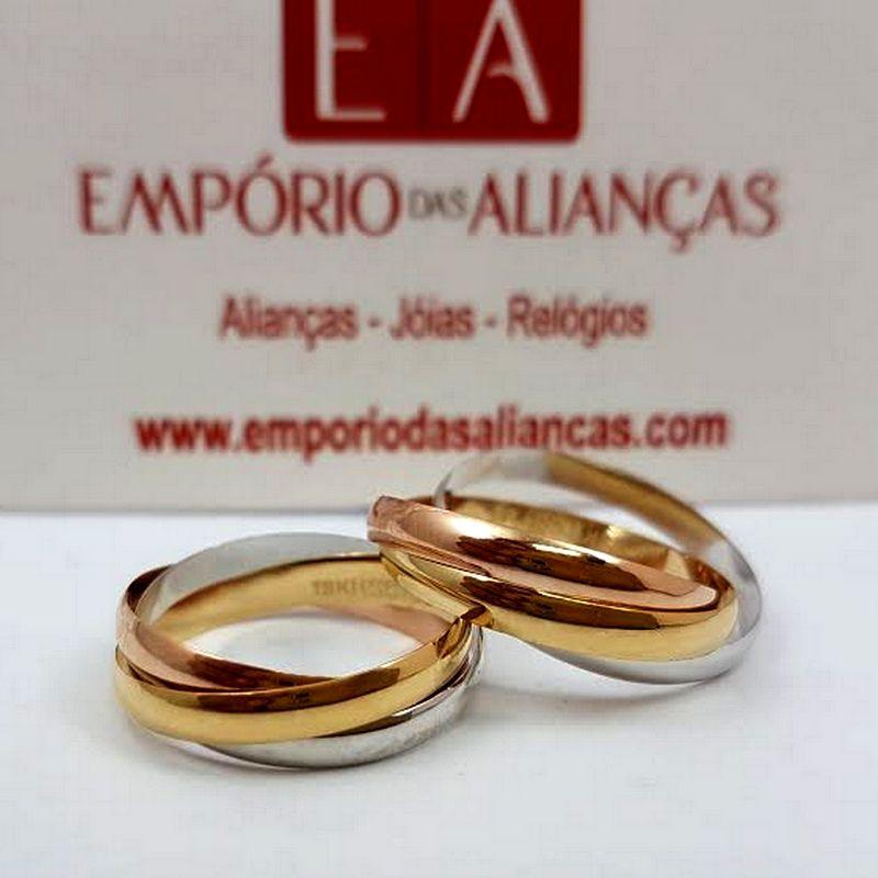 Alianças Ouro 18k Casamento Noivado Trançada Cartier 3 Cores 5mm 7 Gramas Lisa