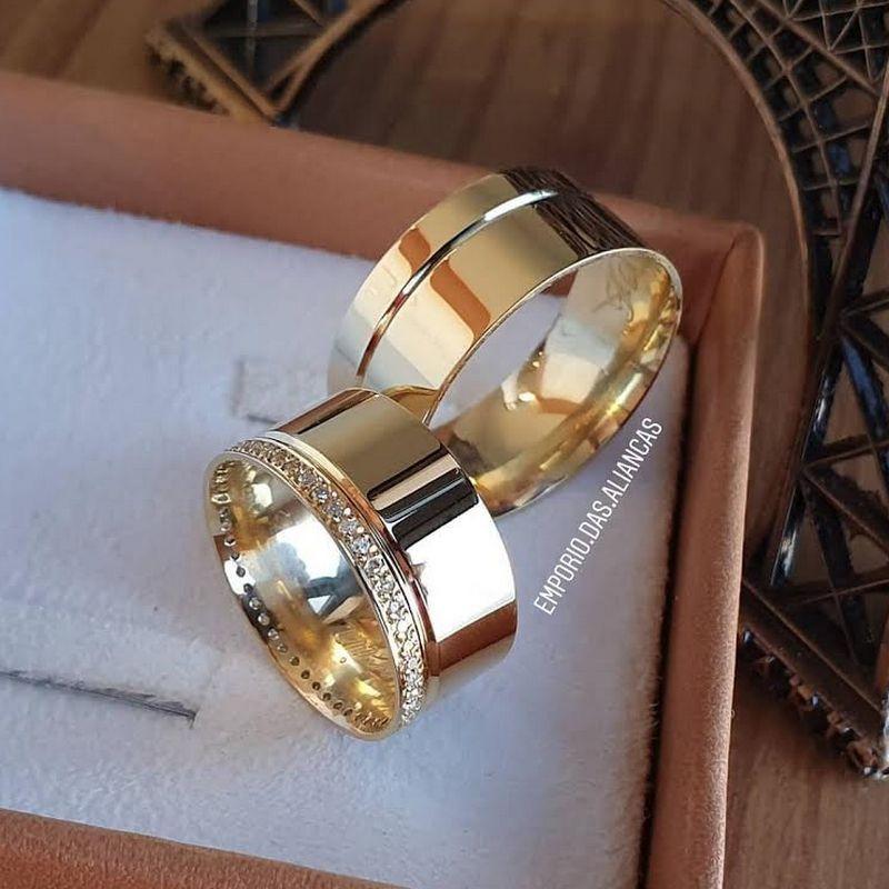 Alianças Ouro 18k Noivado Casamento Quadrada Grossa Larga Anatômica Pedra Zircônia 10mm 17 Gramas o Par