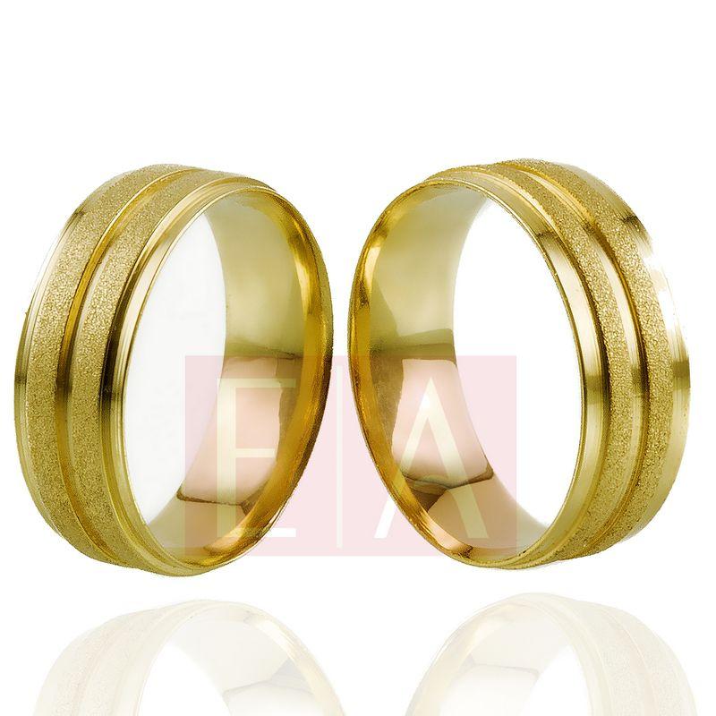 Alianças Ouro Casamento Noivado 18k Anatômica Fosca Diamantada e Polida 7mm 10 gramas o Par