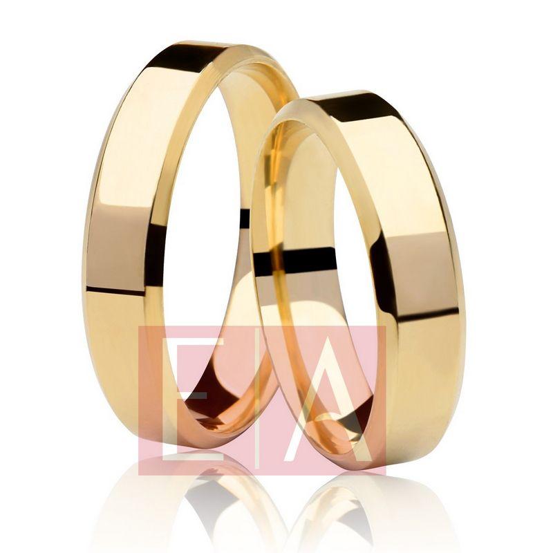 Alianças Ouro Casamento Noivado 18k Chanfrada Quadrada Lisa 5mm 7 Gramas o Par