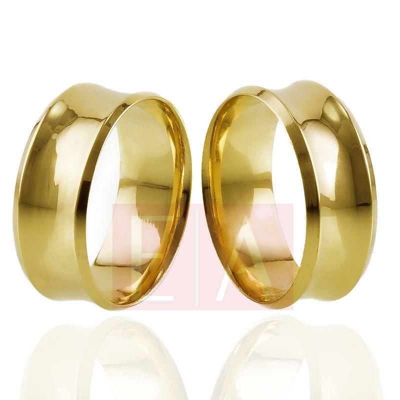 Alianças Ouro Casamento Noivado 18k Côncova Anatômica Polida 8mm 11 Gramas