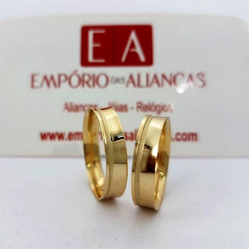 Alianças Ouro Casamento Noivado 18k Côncova Anatômica Trabalhada 5mm 4 Gramas