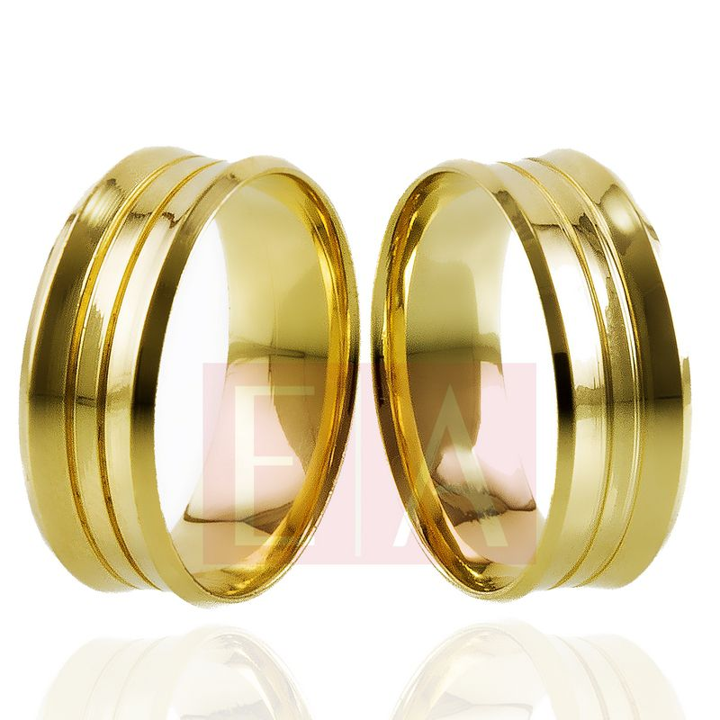 Alianças Ouro Casamento Noivado 18k Côncova Anatômica Trabalhada 7mm e 7 gramas o par