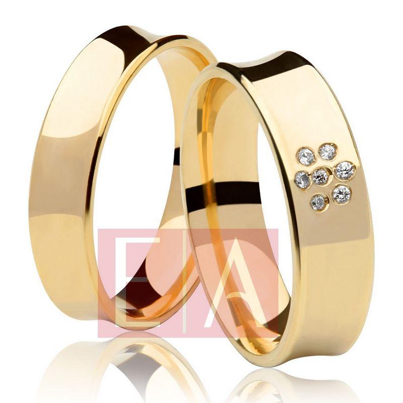 Alianças Ouro Casamento Noivado 18k Côncova Pedra Zircônia Anatômica 6mm 11 Gramas