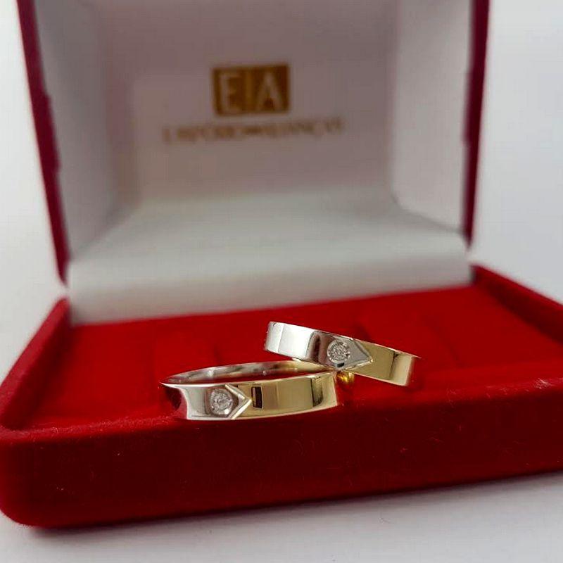 Alianças Ouro Casamento Noivado 18k Duas Cores Bodas de Prata Pedra Brilhante 4mm 6 Gramas