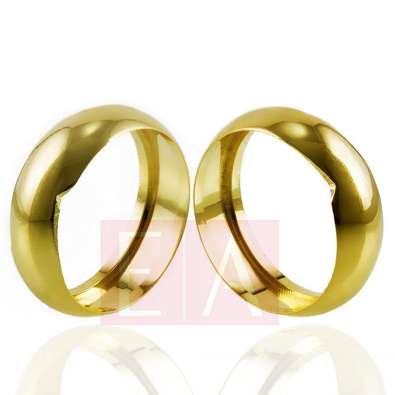 Alianças Ouro Casamento Noivado 18k Lisa Oca 7mm 6 gramas o Par