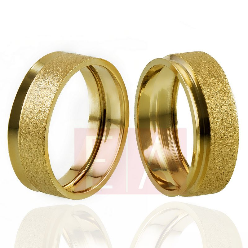 Alianças Ouro Casamento Noivado 18k Oca Fosca Polida Quadrada 7mm 9 gramas o Par