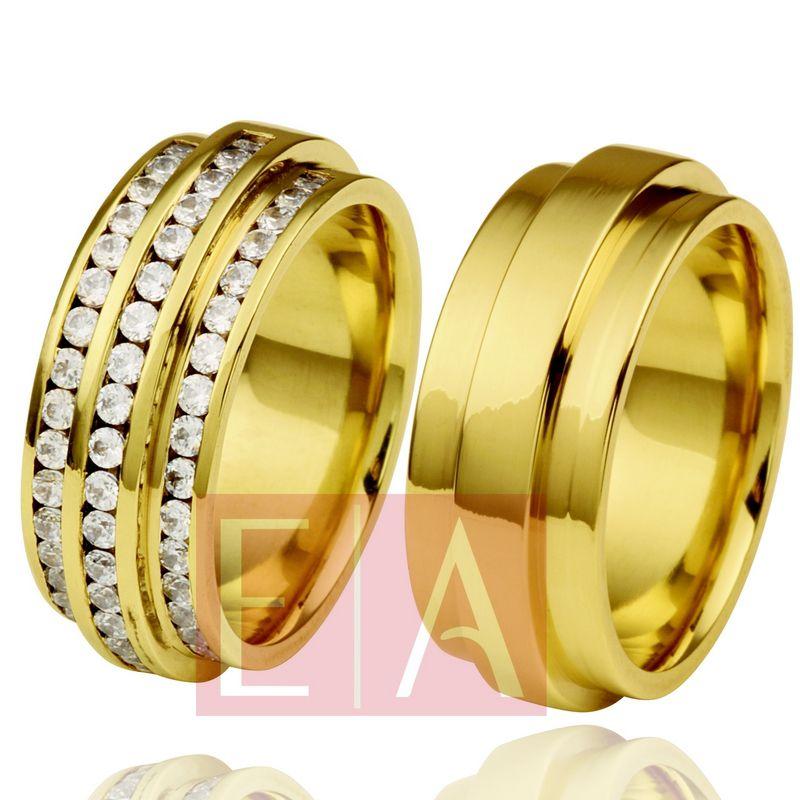 Alianças Ouro Casamento Noivado 18k Polida Quadrada  9 mm  35 gramas