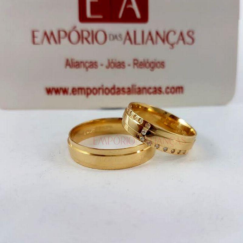 Alianças Ouro Casamento Noivado 18k Quadrada Anatômica Pedra Zircônia 5mm 8 Gramas
