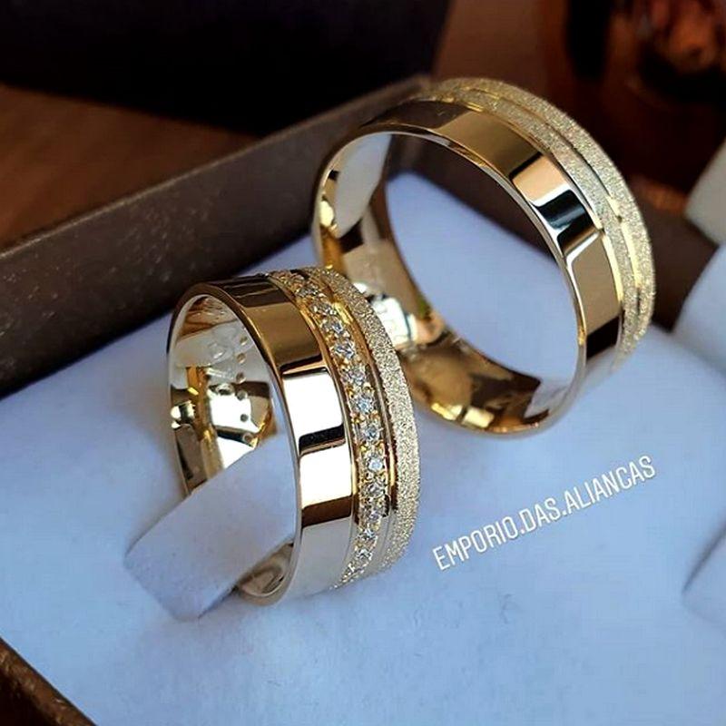 Alianças Ouro Casamento Noivado 18k Quadrada Anatômica Pedra Zircônia 8mm 16 Gramas