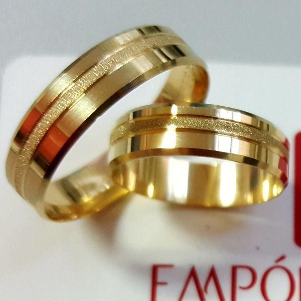 Alianças Ouro Casamento Noivado 18k Quadrada Chanfrada Friso Fosco Reta 5mm 5 Gramas