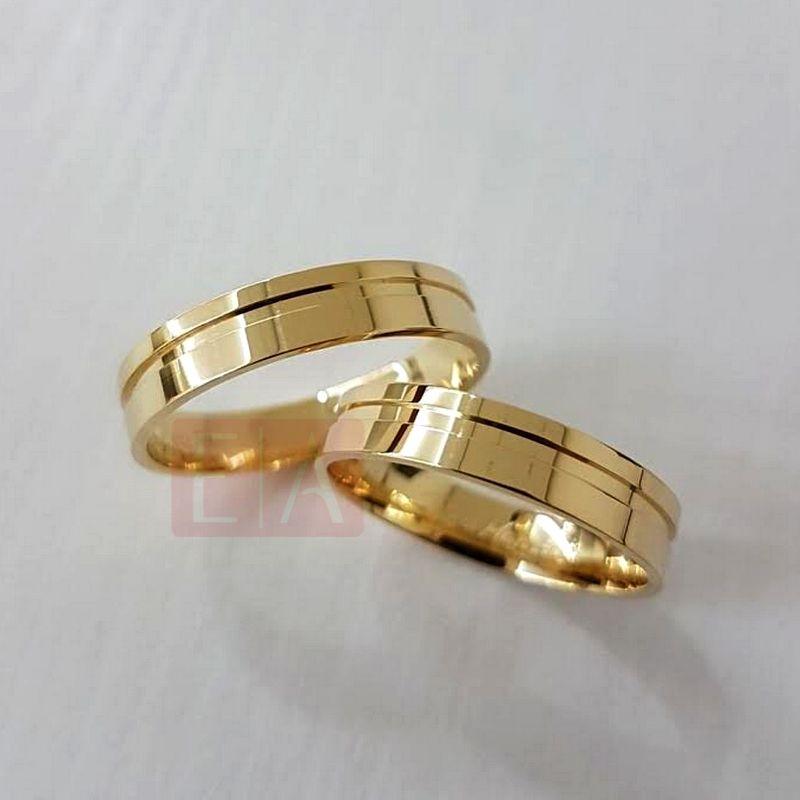 Alianças de Casamento Quadrada de Ouro