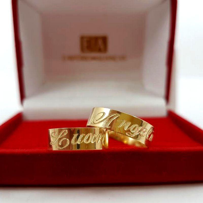 Alianças Ouro Casamento Noivado 18k  Quadrada Gravação Externa Anatômica 5mm 7 Gramas