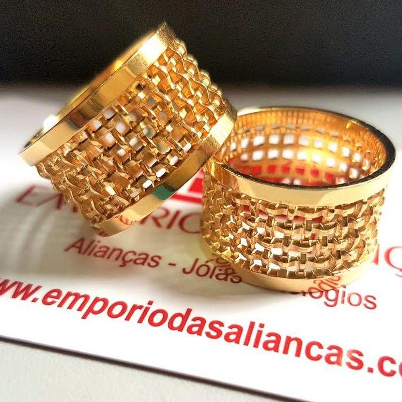 Alianças Ouro Casamento Noivado 18k Quadrada Larga Trabalhada 12mm 15 Gramas
