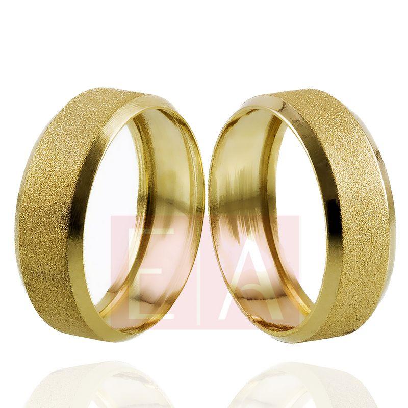 Alianças Ouro Casamento Noivado 18k Quadrada Oca Fosca 7mm 8 gramas o Par