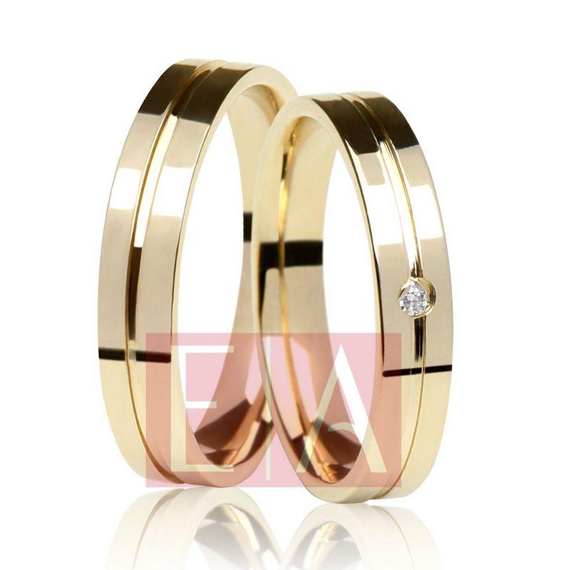 Alianças Ouro Casamento Noivado 18k Quadrada Pedra Brilhante Anatômica 4mm 5 Gramas