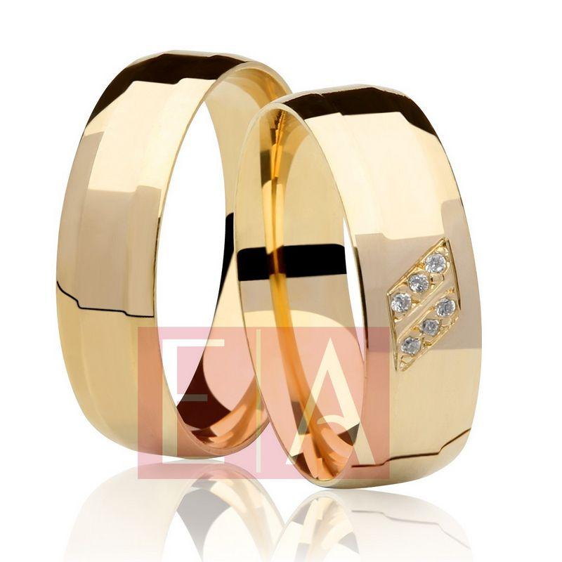 Alianças Ouro Casamento Noivado 18k Quadrada Pedra Zircônia Anatômica 6mm 10 Gramas