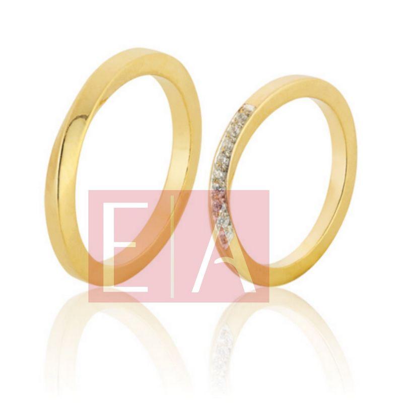 Alianças Ouro Casamento Noivado 18k Quadrada Polida  2 mm  9 gramas