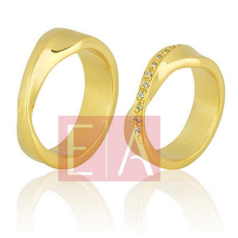 Alianças Ouro Casamento Noivado 18k Quadrada Polida Brilhantes  6mm  16 gramas