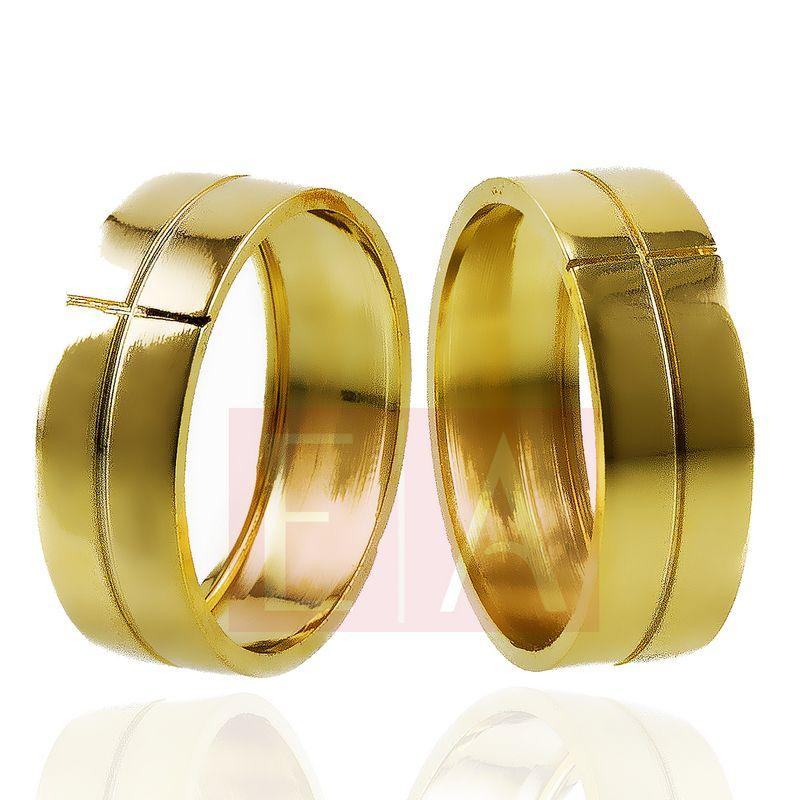 Alianças Ouro Casamento Noivado 18k Quadrada Trabalhada Oca 7mm  9 gramas