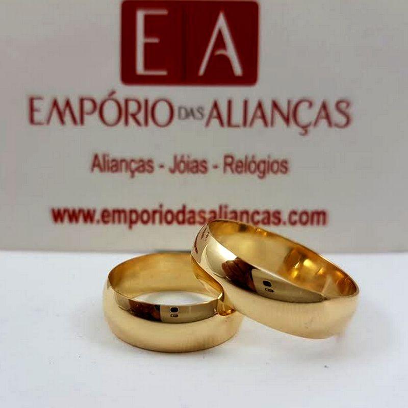 Alianças Ouro Casamento Noivado 18k Redonda Abaulada Lisa 6mm 9 Gramas