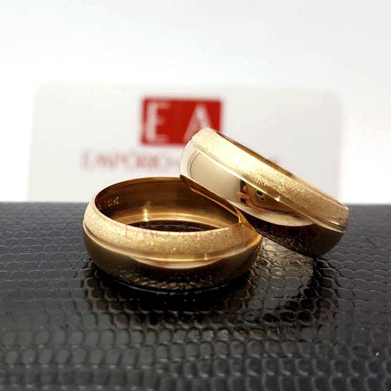 Alianças Ouro Casamento Noivado 18k Redonda Abaulada Oca 7mm 6 Gramas