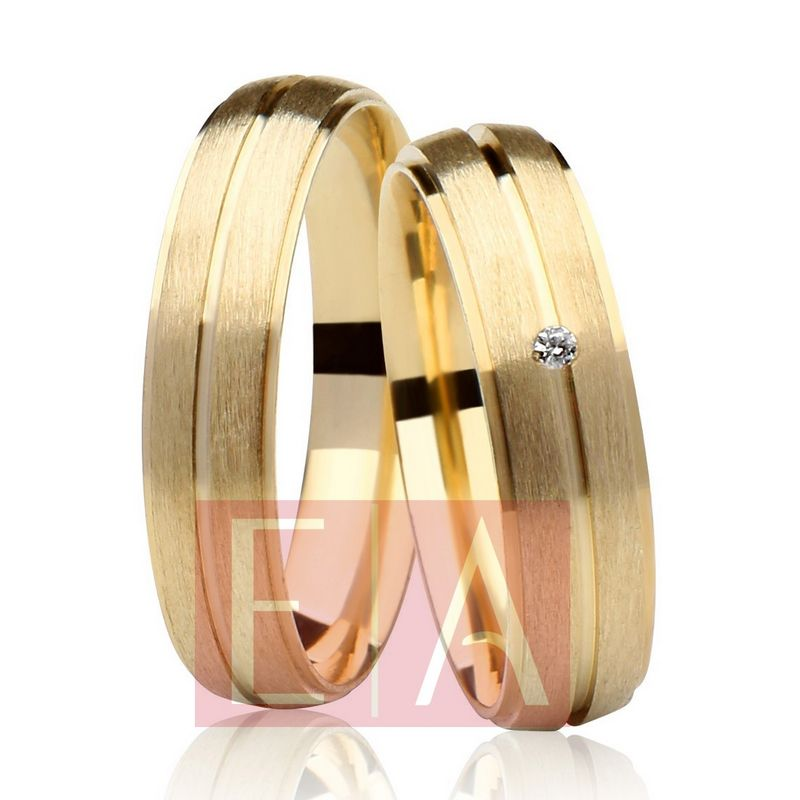 Alianças Ouro Casamento Noivado 18k Redonda Anatômica Fosca Pedra Zircônia 5mm 7 Gramas