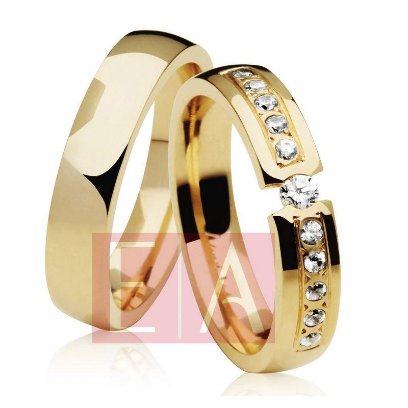 Alianças Ouro Casamento Noivado 18k Redonda Anatômica Pedra Zircônia Suspensa 5mm 18 Gramas