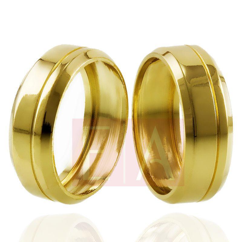 Alianças Ouro Casamento Noivado 18k Trabalhada Oca Lisa 7mm e 9 gramas o Par