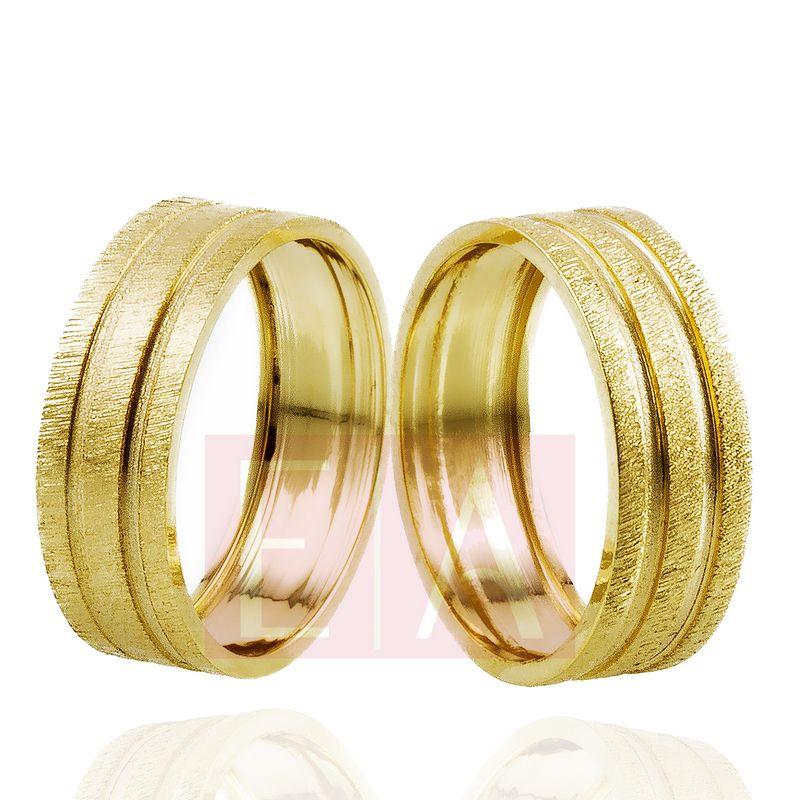 Alianças Ouro Casamento Noivado 18k Trabalhada Quadrada Fosca 7mm e 8 gramas o Par