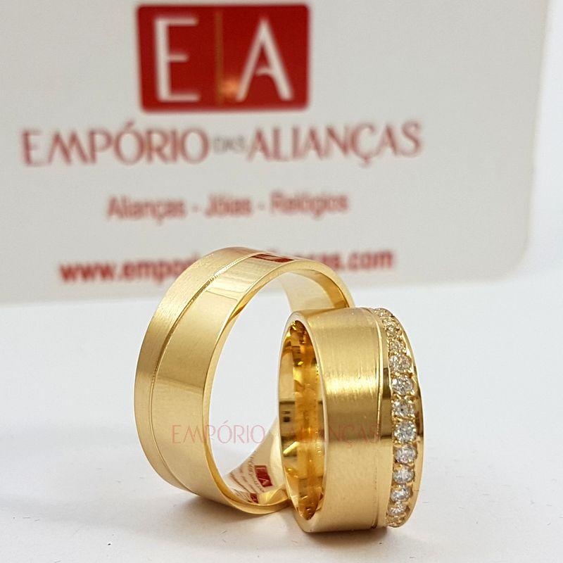 Alianças Ouro Casamento Noivado Quadrada Anatômica Pedra Zircônia 8mm 18 Gramas