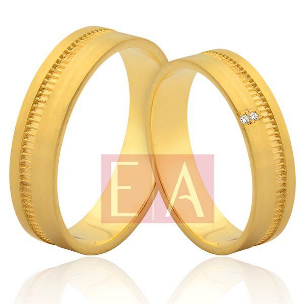 Alianças Ouro Noivado Casamento 18k Brilhante Trabalhada Quadrada 5mm 8 Gramas