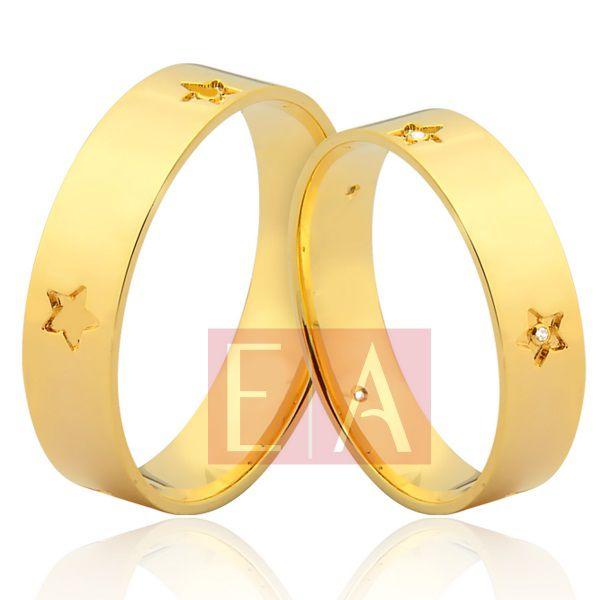 Alianças Ouro Noivado Casamento 18k Quadrada Brilhante Estrela 5mm 8 Gramas