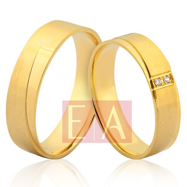 Alianças Ouro Noivado Casamento 18k Quadrada Brilhante Reta 5mm 8 Gramas Desenhada